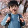 咲き始めの桜とランドセル撮りました♡