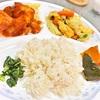 鶏胸肉のトマトソースペンネとキャベツの炒り卵バター醤油炒め