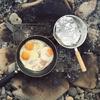 シークレットビーチで焚き火して朝食。朝日浴びながら最高な1日のスタート。
