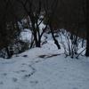 雪の裏山散歩 桜尾根から金剛の滝へ(なぜ金剛の滝は凍らないのか?)