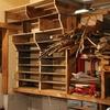 廃材で作る、上広がりの収納棚