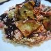ビーツとサツマイモと鶏ハムのピンクのクスクスサラダ