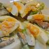 鯖のへしことアスパラとカブ、ゆで卵のサラダ