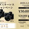 2/22よりα7iiなどがキャッシュバック対象に!最大3万円!