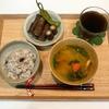 【献立・一汁一菜】十六穀ごはん+牛肉の八幡巻き+味噌汁