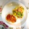 ヒレフライ、サツマイモポテトサラダ