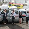 15日の終戦記念日、岩渕友参院議員、福島市議団とともに市内で街頭宣伝。