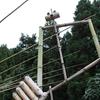 旧針山小の大きな竹細工オブジェがジャンケンしていた