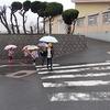 登校の風景:傘差し登校