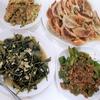 7/25(土)の夕飯☆餃子(&余りの具で玉子焼き)、青菜炒め、麻婆ピーマン♪