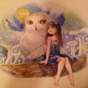 動物と小人と色鉛筆