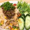 お昼は、「白菜チャーハン肉味噌のっけ!」と「たまごスープ」