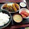 西川口の「あおき食堂」でハム・白身魚・ピーマン・ヒレのフライ定食を食べました★