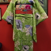 黄緑色地藤と小槌と草子柄小紋×ローズピンク色ストライプに春蘭と雛菊名古屋帯