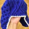 三國さんの「耳まで暖かい帽子」 子ども用裏地付を編んでみた 着画