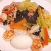 中華丼と「水溶き片栗粉大さじ3」の作り方。