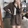 韓国ファッション セットアップ チェック柄 テーラードジャケット + ミニスカート レディース