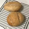 小麦胚芽パン、カレーチャーハンとブロッコリートマトスープと小松菜卵焼き