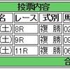 10/08(土)複勝コロガシの予想。10時時点オッズで1,200円→19,500円