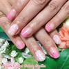 透け感が春めきます♡ピンク逆フレンチとレースフラワーネイル☆ジェル