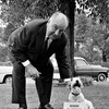 Alfred Hitchcock with a dog
