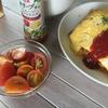 朝どりトマトとオムライスの朝食♪