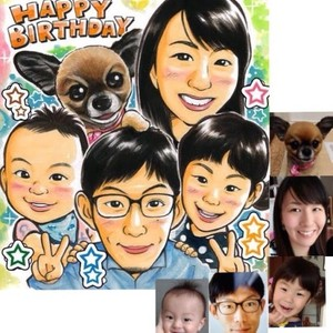 お客様の似顔絵(27)/誕生日、カップル、ファミリー、愛車、愛犬