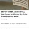 ハワイでブラウンウォーター注意報