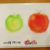 介護施設で本作り(リンゴのパステルアート)