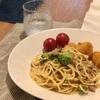 ブロッコリーとツナのパスタ、ミニトマトとジャガイモのフライ