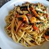 バジルとキノコのトマトスパゲッティ