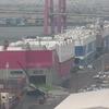 自動車船が集まる名古屋港