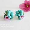 「亜熱帯の花」刺繍ピアス、やっと一点作れました…!