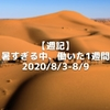 【週記】暑すぎる中、働いた1週間 2020/8/3-8/9