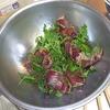 幸運な病のレシピ( 458 )夜:厚揚げとタケノコに青梗菜の豚ひき肉テリテリ、鰹たたき紫蘇ポン酢、アジみりん干し