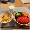 親子丼、トマトとブロッコリー、キャロットラペ