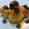 サトイモの鶏皮巻き団子、八丁味噌のソース