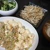 麻婆豆腐、もやし、きゅうり、スープ