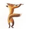 水彩画「Fox / Flutist (Flautist)」