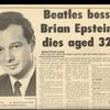 ビートルズを支えた名マネージャー、ブライアン・エプスタインの死(299)