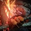 森の闇と見上げた星と、焚火とご飯。ってお話。