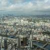 春の嵐が明けたあと、スカイツリーから曇り空の東京を撮る。