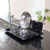 箸が別置きで便利 パール金属 食器 水切り かご 水が流れる トレー付  黒 HB-3467