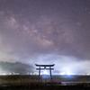 【天体撮影記 第153夜】 大分県 原尻の滝と鳥居と天の川