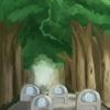 背景版深夜の真剣お絵描き60分一本勝負『緑道』 (デジタル1枚)