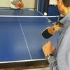 ボランティアさんとの卓球ラリーの風景