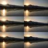 安曇野、初夏の夕暮れ。田園風景の中、山に日が沈む様子を写真でお届けします。