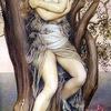 ドリュアス Dryas/ ドライアドDryades   樹木,木立,森林,山林のニンフで,オークや松,ポプラやトネリコ,リンゴや月桂樹等個別の樹木の精でもありました.いくつかのタイプがあり,例えばメリアイ(Meliae)は,トネリコのニンフ,オレイアデス/オレアド(オリード)は山のコニファーのニンフ.個別の名前がよく知られたドリュアスには,エコー,エウリュディケーなどがいます.