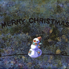 水彩画「雪だるまの夜」