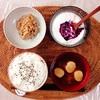 小粒納豆、ブルーベリーヨーグルト。